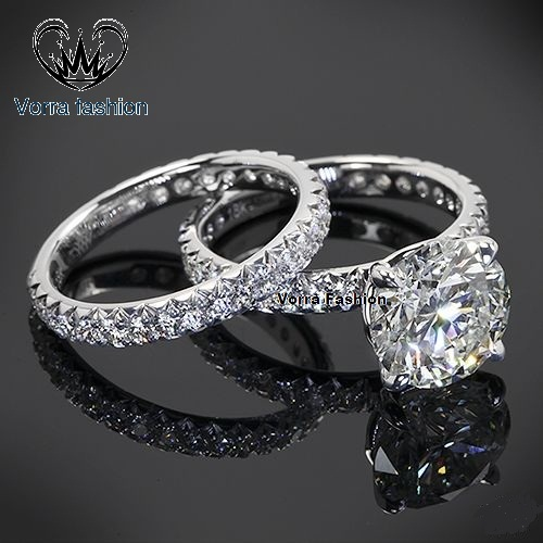 Primary image for Bridal Wedding Ring Set Round Cut Sim Diamond 14k White Gold Plated 925 Silver