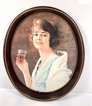 "Vintage 1973 Coca Cola Oval Metal Tin Serving Tray - 1923 Girl Ad - 15"" ... - $23.70"