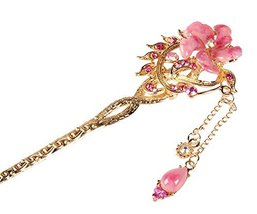 Bridal Headdress Hair Ornaments Handmade Classical Hairpin, Pink Flower - €9,42 EUR