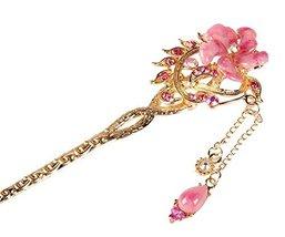 Bridal Headdress Hair Ornaments Handmade Classical Hairpin, Pink Flower