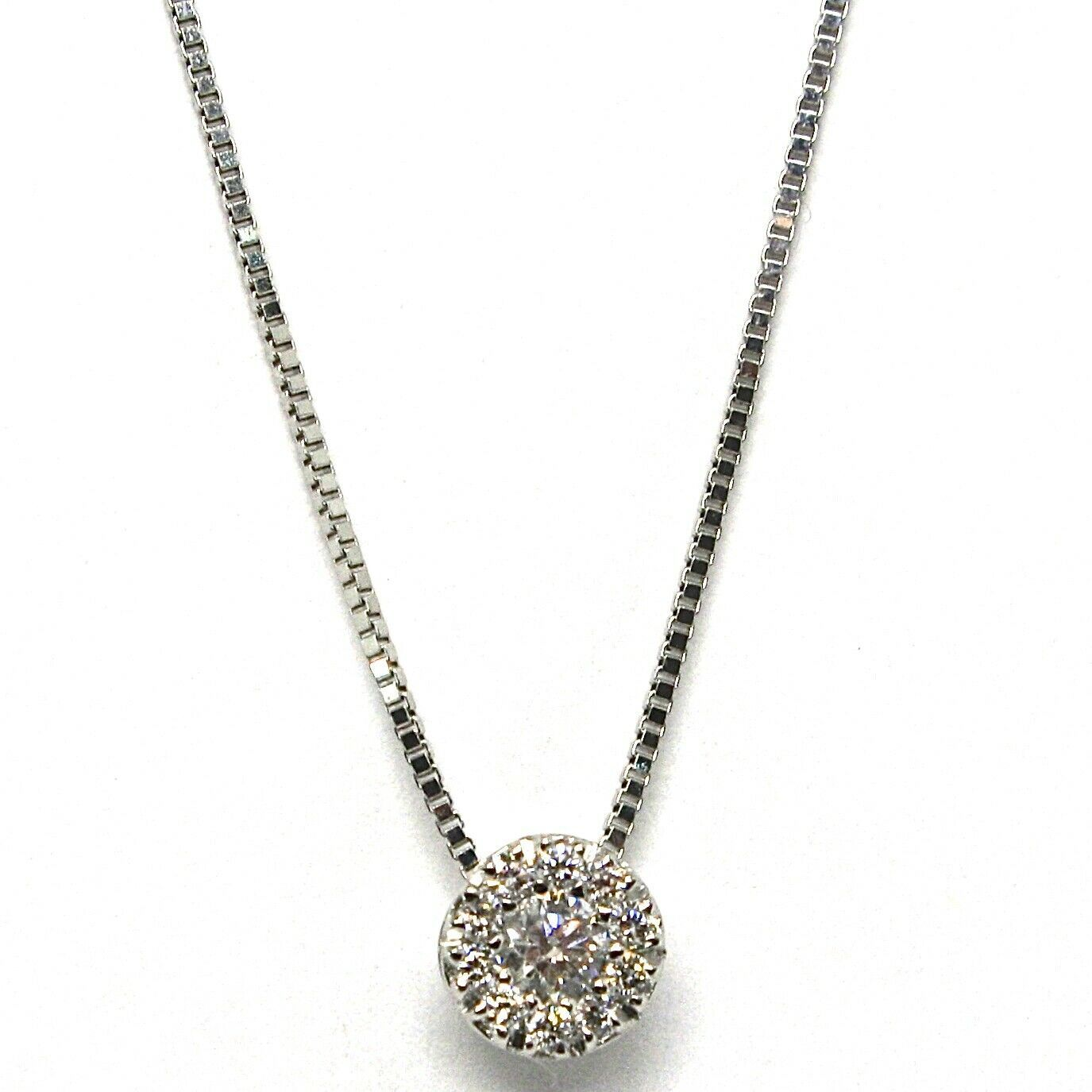 Necklace with White Gold Pendant 750 18K, Central and Frame, Diamonds, Flower