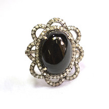 Onyx Gemstone Pave Diamond Designer Silver Wedding Ring - $124.74