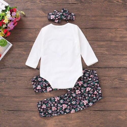 Casual Clothes 3PCS Newborn Baby Girl Clothes Sets Top Romper Floral Pants Headb image 3