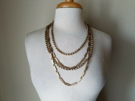 Vintage Fashion Necklace Gold Tone Triple Strand Chain Costume Mod Retro - $30.00