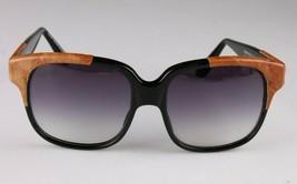 Vintage Damen Schwarz Emmanuelle Khahn Strauß Leder 8080 16 OS Sonnenbrille