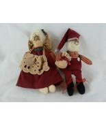 "Vintage Folk art doll couple Mr. and Mrs. Santa 4"" Ornaments Cloth handc... - $10.88"