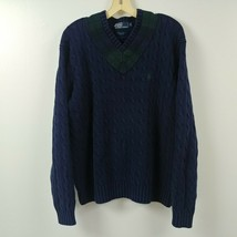 Polo Ralph Lauren Mens Cable Knit Sweater Medium M Blue V Neck Pullover Adult - $51.38