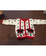 Badge Hand Knit Girl's Christmas Sweater 6/6X Pewter Buttons - $29.99