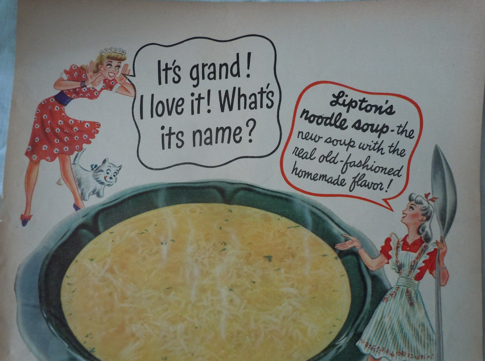 LIpton's Continental Noodle Soup Advertising Print Ad Art 1940s  image 2