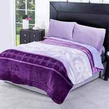 Purple Evelyn Flannel Extra Soft Blanket in Thick Soft Wadding by Intima Hogar - $64.30+