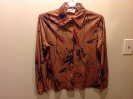 Lucky Tops Silvery-Brown Salmon Colored Button Up Collared Blouse Sz XL