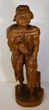 "20"" Vintage Hand Carved Folk Art Statue Young Man Poor Peasant w/ Dog - $123.49"