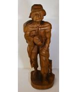"20"" Vintage Hand Carved Folk Art Statue Young Man Poor Peasant w/ Dog - $123.49"