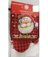 5 pc KITCHEN SET: 2 POT HOLDERS, OVEN MITT & 2 TOWELS, SANTA'S FACE by S... - $13.85