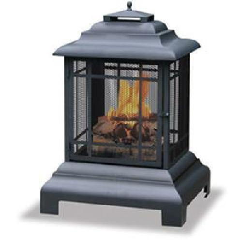 Uniflame Wood Pagoda Firepit Firehouse Outdoor Patio Deck Fireplace