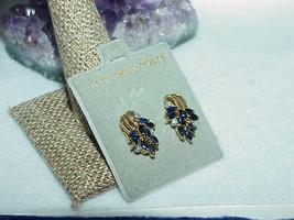 14K .40ct 18 Marquise Blue Sapphire 6 Diamond Earrings Stud Vintage Curl... - $346.49