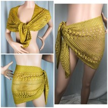 Baja Blue Crochet Wrap Gold Sarong Womans Large Coverup Shawl 62 X 17 - $29.70