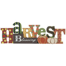 """Fall/Harvest Blessing Wood Shelf Sitter/Table top decoration Approx. 4"""" ... - $9.00"""