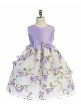 Posh Lilac/White Floral Embroidered Flower Girl Holiday Dress, Crayon Ki... - $44.09+