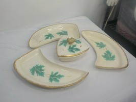 Vintage Mid Century Atomic Age Calif Pottery Chips and Dip Party Set Gold Trim - $33.96