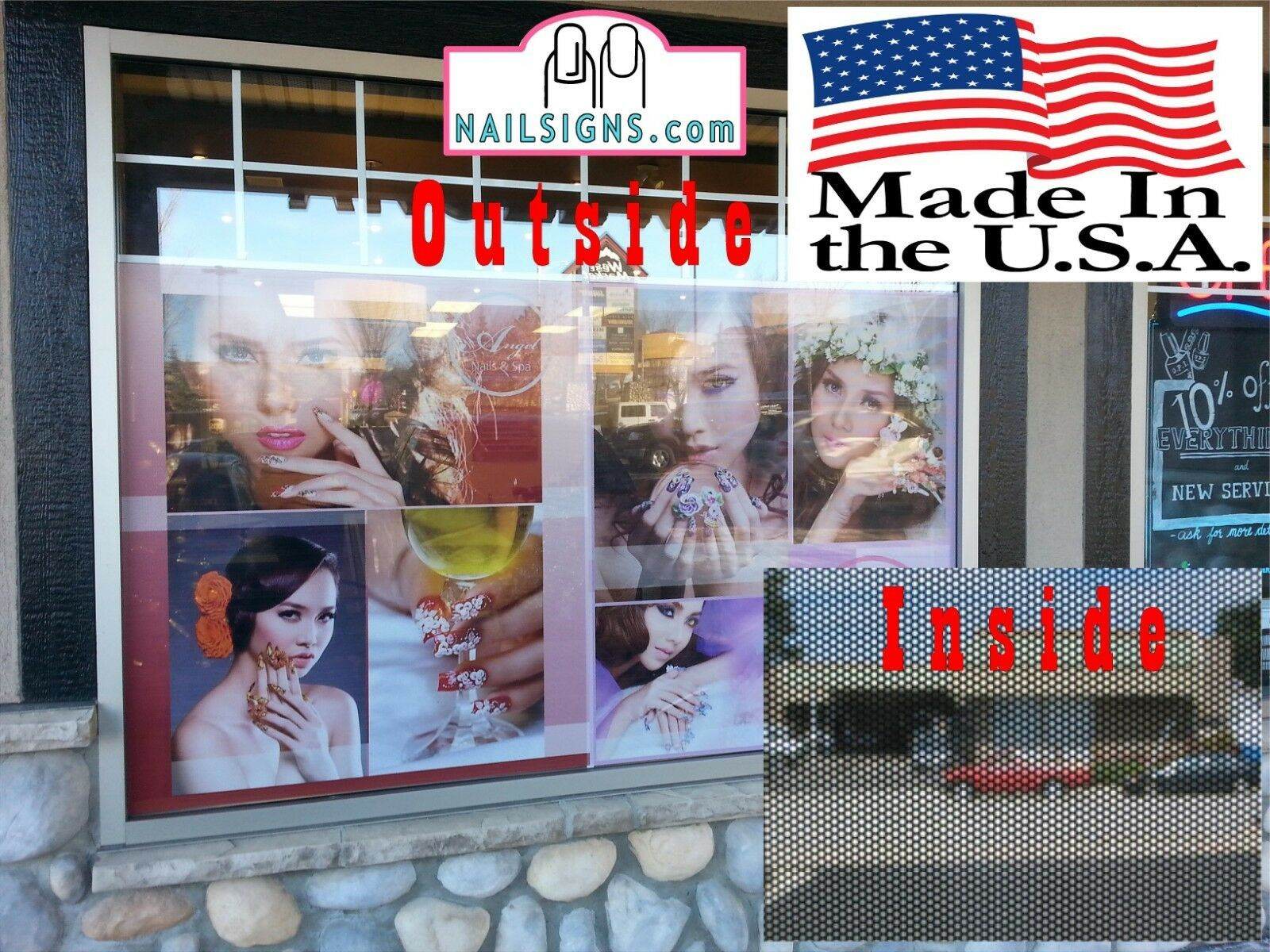 Solar I Perforated 70/30 See Through Window Poster Manicure Nail Salon Vertical