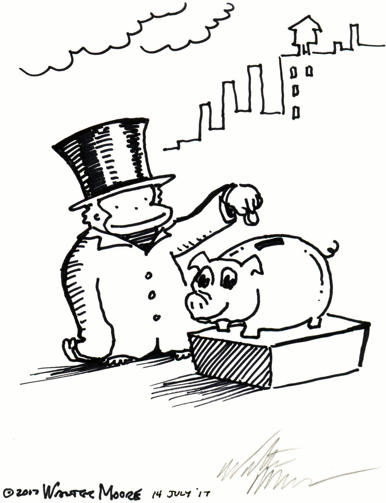 Primary image for Top Hat Ape Feeds Piggy Bank. Original Signed Cartoon by Walter Moore