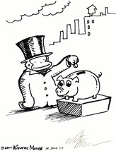 Top Hat Ape Feeds Piggy Bank. Original Signed Cartoon by Walter Moore - $9.44