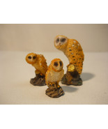 Owls very Decorative Hand Painted, Lot of 3 Figurine Owl Set - $12.95
