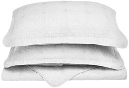 3-pc White Full/Queen Superior Corrington Floral Stitched Quit & Pillow Shams - $89.05