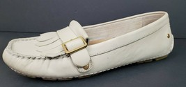 UGG Driving Moccasins Size 6 Ivory Dempsey Leather Loafer Flats Slip On 1007675 - $17.64