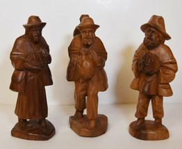 """7"""" Vintage Hand Carved Folk Art Set 3 Statues Old Men Woman Peasants - $56.99"""