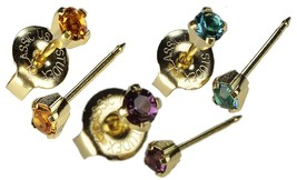 Ear Piercing Earrings 3 Gold Pairs Fall Colors in Purple-Yellow Topaz-Blue Green - $17.89