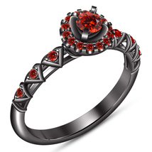 Women's Wedding Ring Round Cut Red Garnet 10k Black Gold Plated 925 Pure Silver - $84.24