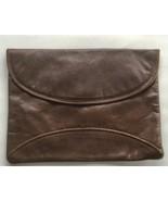 Vintage Brown Leather Envelope Clutch Handbag, Made in Italy - $33.15