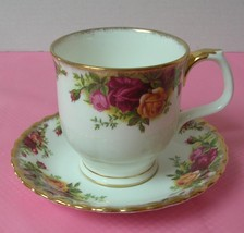 OLD COUNTRY ROSES Royal Albert FOOTED COFFEE TEA MUG & SAUCER China Choc... - $24.24