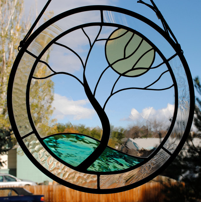 Stained Glass Window Panel • Crystal Tree Yellow Moon round glass panel clear