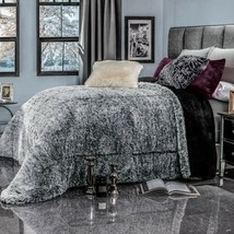 New Winter Humo GRAY/BLACK Shaggy Blanket With Sherpa Softy Thick And Warm Full - $89.10