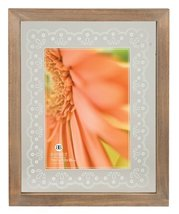 Burnes of Boston Lantana Gray Wash Wood Float Photo Frame with Lace Prin... - €7,22 EUR