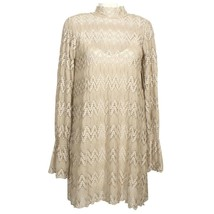 Free People Beige Simone Crochet Lace Shift Mini Dress S - $69.99