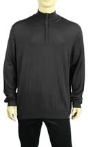 New Mens Calvin Klein Merino Wool Blend Half Zip Black Pullover Sweater M - $37.99