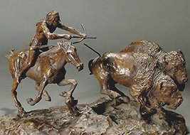 Double Buffalo Hunt Lost Wax Bronze Sculpture Statue By C. M. Russell - $1,396.50