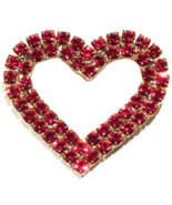 Heart Pin Brooch Red Crystal Prong Set Double Row Goldtone Metal Valenti... - $24.99