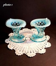 Fenton Miniature Cornucopia - Candle Holders - Blue Opalescent - #3971 - $24.74