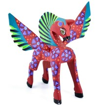 Handmade Alebrijes Oaxacan Wood Carving Painted Folk Art Pegasus Horse Figurine