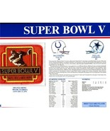 Super Bowl 5 Patch and Game Details Card - $19.75
