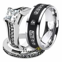 His & Hers Stainless Steel Princess Bridal Ring Set & Mens Titanium Wedd... - $38.78