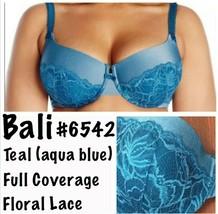 New Bali Bra 34B Lace Desire 6542 Foam Underwire Aqua Petro Teal Full Co... - $31.05