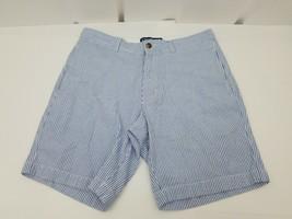 Chaps by Ralph Lauren Mens Striped Shorts Blue White 100% Cotton 33 Flat Front - $17.41