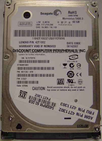 New Seagate 60GB SATA 2.5in Hard Drive Seagate ST960813AS Free USA Ship