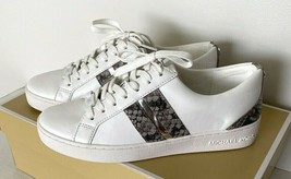 Neuf Michael Kors Catelyn Rayure Lacet Nappa Sneakers Taille 6 Blanc/ Gr... - $102.91